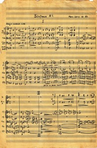Symphony No. 1 - handwritten by Marc Lavry